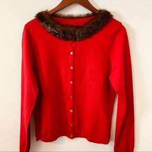 August Silk Silx Red Cardigan Sweater Size L